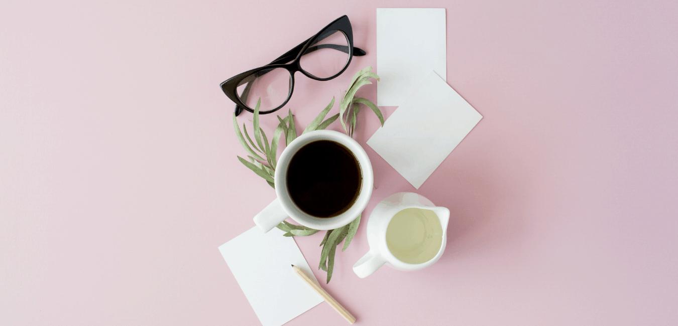 3. coffee glasses on desk
